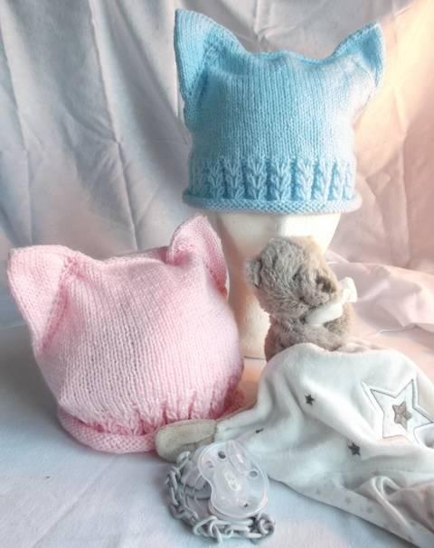 Bonnet bébé oreilles de chat et jolis coeurs chez Makerist