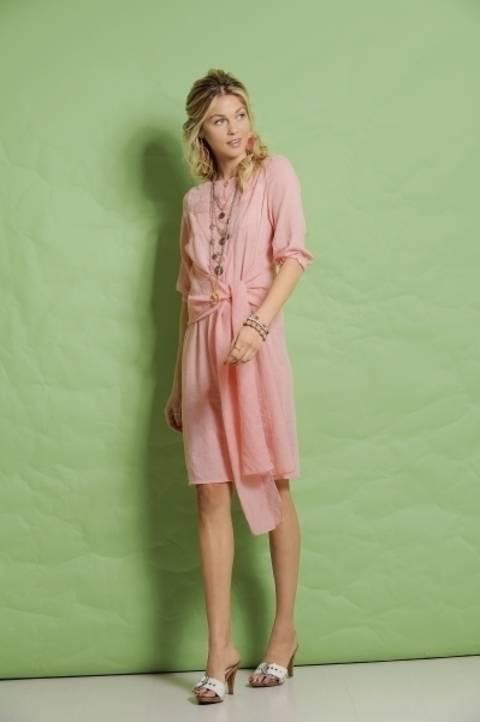 Roséfarbenes Blusenkleid mit breitem Bindeband