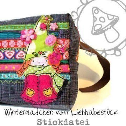 Doodle Stickdatei Wintermädchen