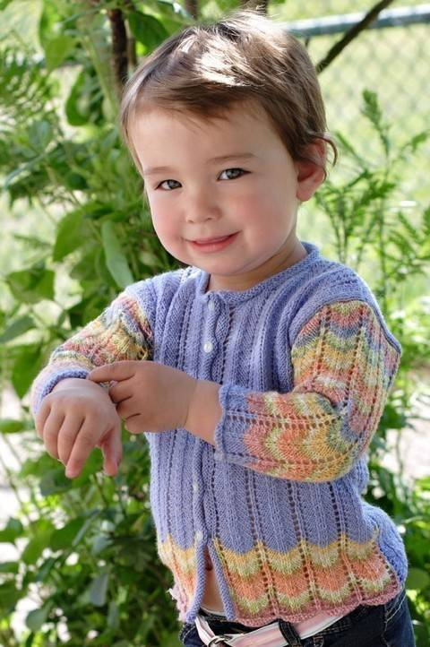 Peacock baby and girls cardigan - hand knitting pattern