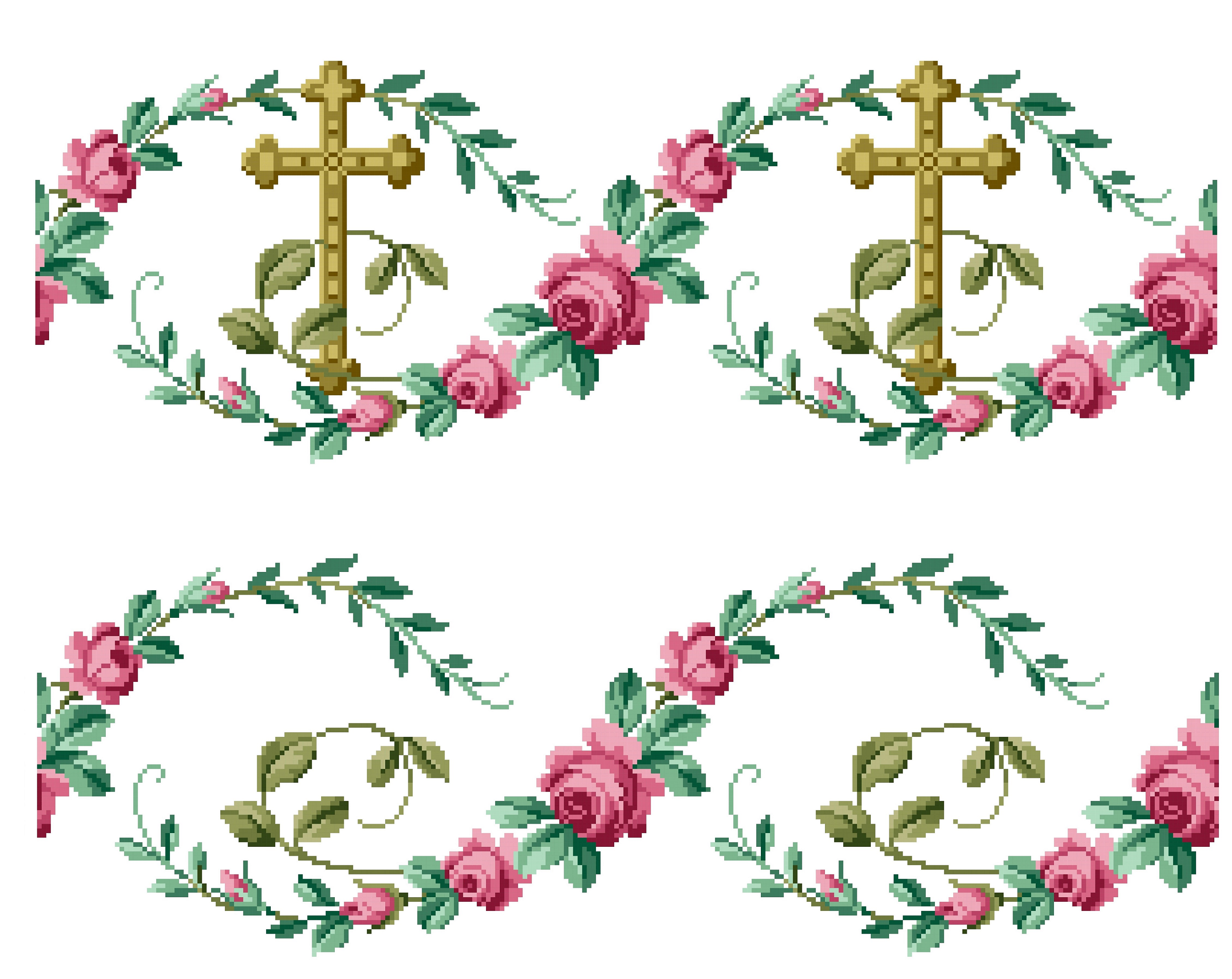 Cross and roses. Cross stitch pattern