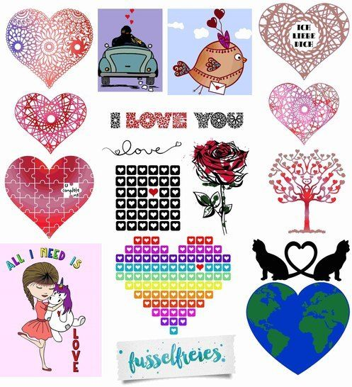 Plotterdatei Serie VALENTINE'S LOVE Fusselfreies (18 Designs) bei Makerist - Bild 1