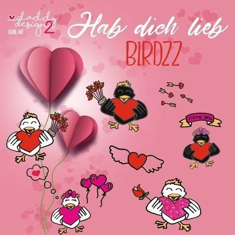 COOL BIRDZZ Hab dich lieb / I love you Kombidatei mit Deko