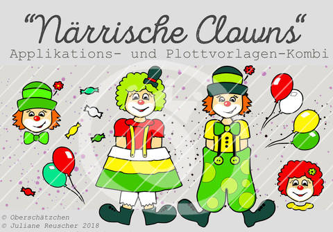 Appli- und Plott-Kombi Clowns Karneval Fastnacht bei Makerist