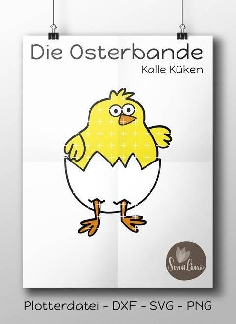 Die Osterbande Kalle Küken Plottervorlage 4-farbig DXF SVG PNG