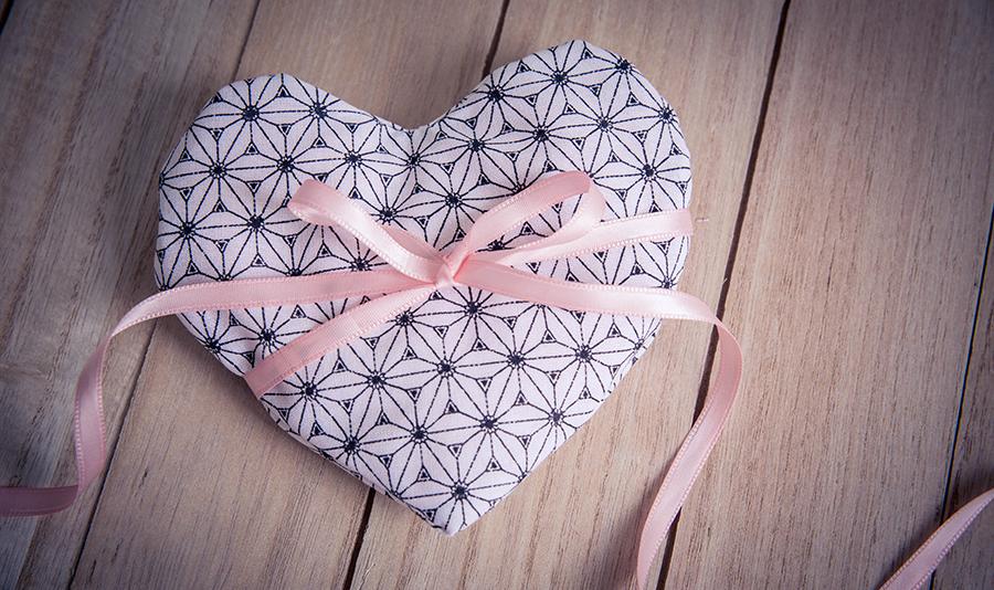 La petite bouillotte sèche en forme de coeur