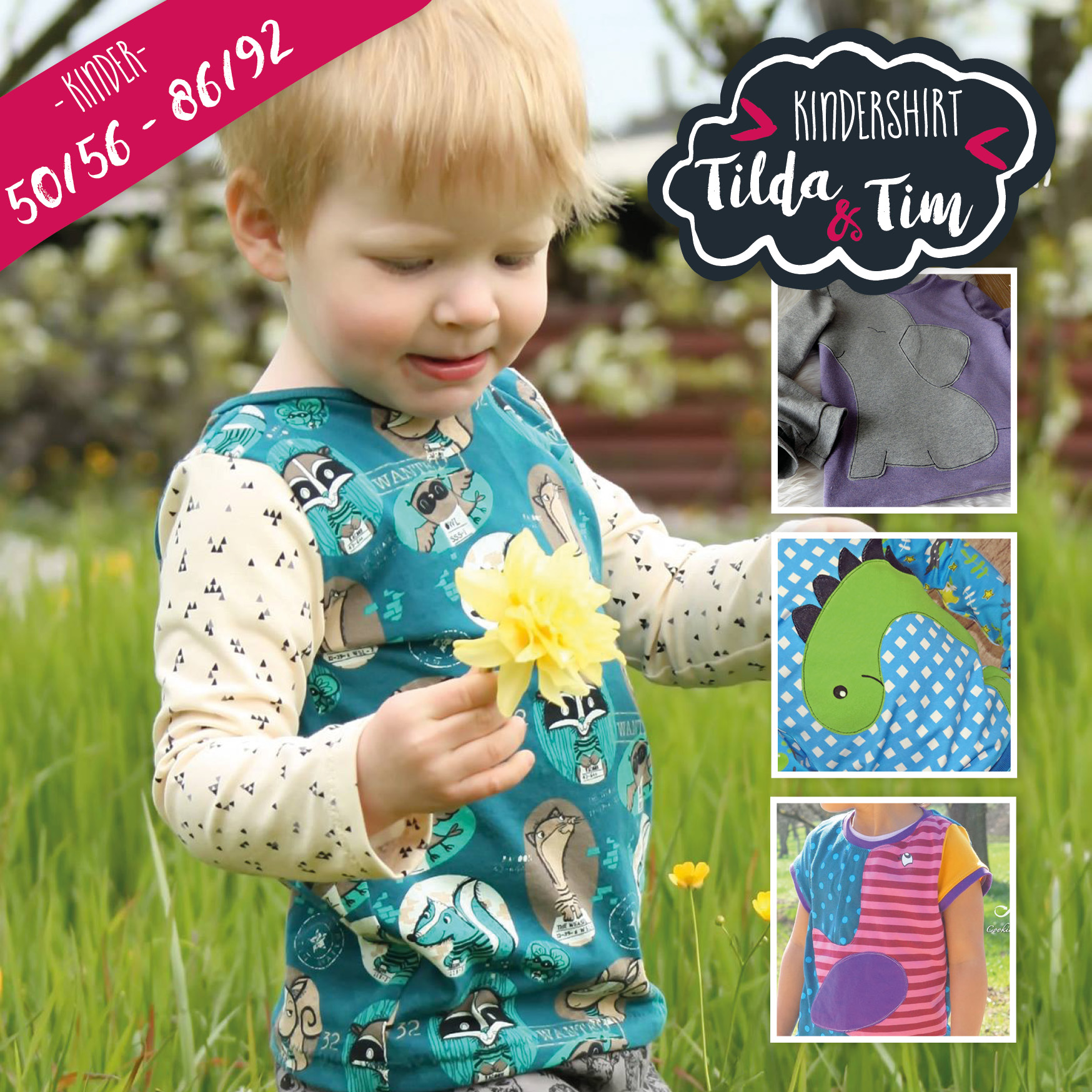 Ebook Kindershirt Tilda & Tim 50/56 - 86/92