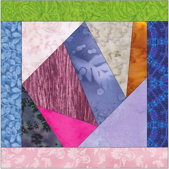 Crazy Block 7 Patch 10 Inch Paper Piece Foundation Quilting Pattern at Makerist - Image 1