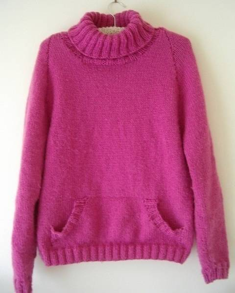 Ladies 12ply polo neck jumper with pocket - Daphne at Makerist