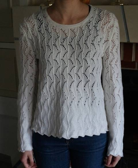Pull dentelle Muguet, explications tricot