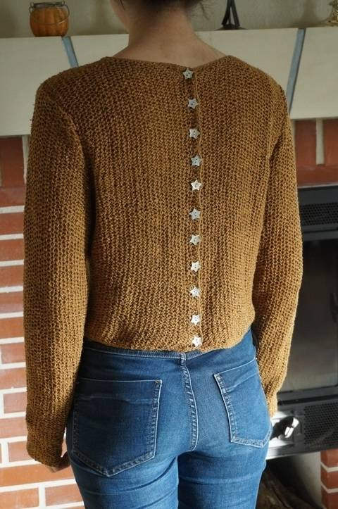pull faux gilet boutonnge dos, point nid d'abeille