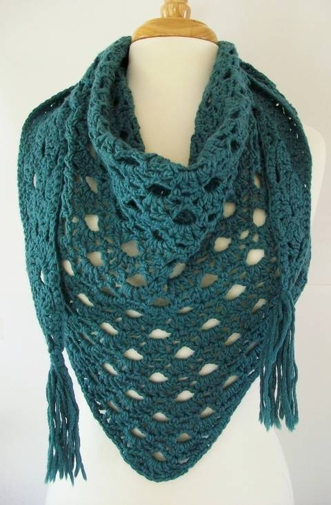 Lake Michigan Crochet Triangle Scarf