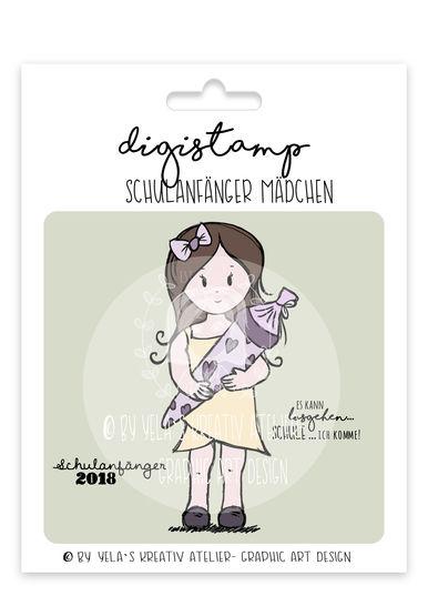 """Digistamp  Yela`s Kreativ Atelier """" Schulanfaenger Maedchen """" bei Makerist - Bild 1"""