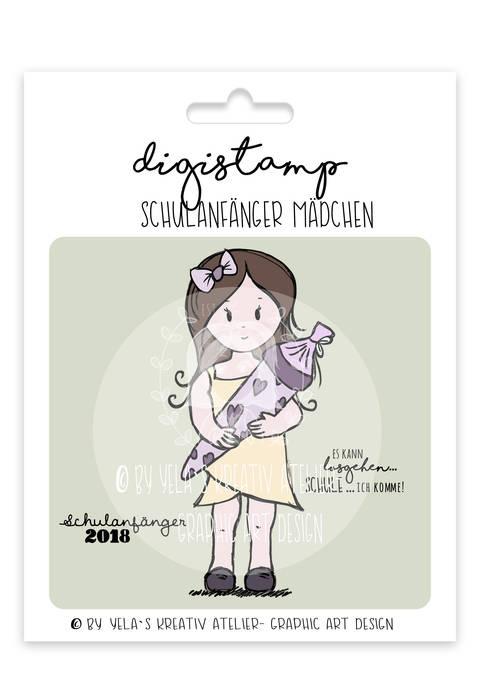 """Digistamp  Yela`s Kreativ Atelier """" Schulanfaenger Maedchen """""""