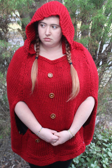 Knitted Red Riding Hood Poncho - Knitting Pattern