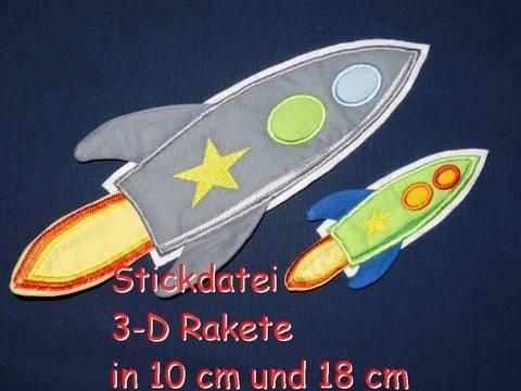 Stickdatei 3-D Rakete in 10 cm und 18 cm