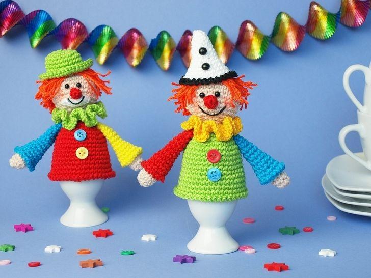 Häkelanleitung Eierwärmer Clown bei Makerist - Bild 1