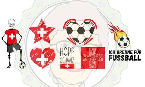 Plotterdateien Fußball WM & EM Set Schweiz - 7-teiliges Fußball Fan-Set für die Schweiz - mit Anleitung und vielen Beispielen bei Makerist