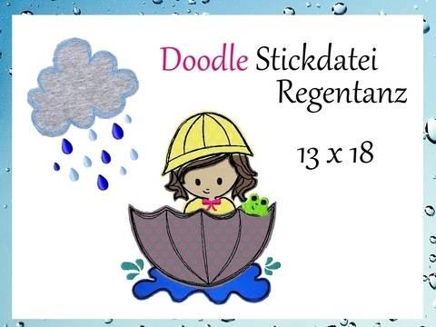 Doodle Stickdatei Regentanz im Schirm bei Makerist
