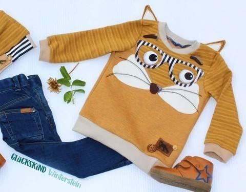 Shirt #emimal Nähanleitung, Schnittmuster und Applikationsvorlagen Eule Fuchs Pinguin Waschbär Reh Igel Maus  Eichhörnchen