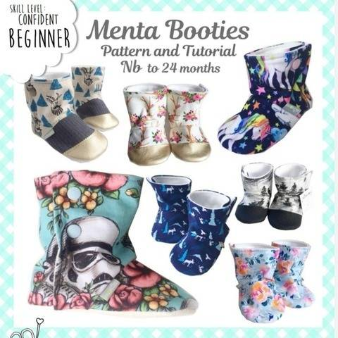 NB to 24 months Menta baby booties sewing pattern and tutorial at Makerist