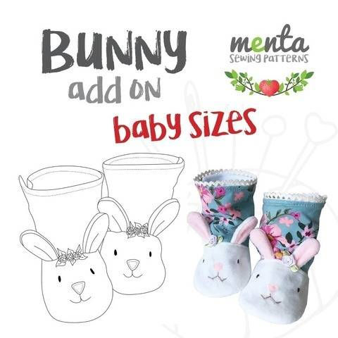 NB to 24 months Bunny Booties Add-on for Menta Booties Sewing Pattern at Makerist