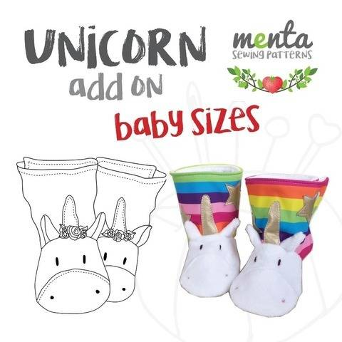Nb to 24 months Unicorn Add-on for Menta Booties Sewing Pattern at Makerist