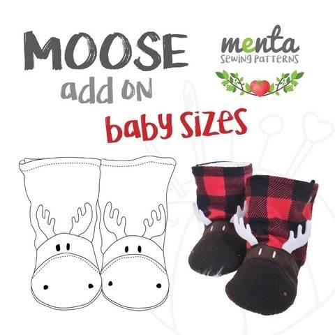 NB to 24 months Moose Add-on for Menta Booties Sewing Pattern
