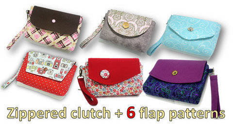 zippered clutch- You will get ALL 6 flap patterns shown. Over 80 pics.