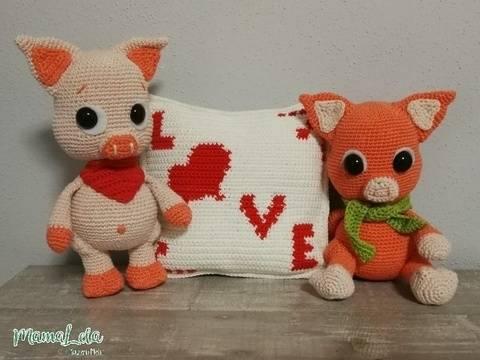 SCHWEINCHEN Rose & Pepe in Love - Häkelanleitung