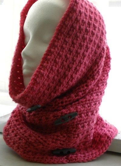 Cowl-Hood with Decorative Button- Crochet Pattern at Makerist - Image 1