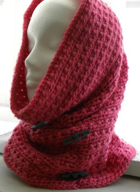 Cowl-Hood with Decorative Button- Crochet Pattern