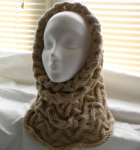 Wavy Cable Cowl-Hood- Knitting Pattern