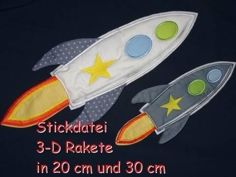 Stickdatei 3-D Rakete in 20 cm und 30 cm