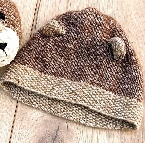 Bär Mütze für Neugeborene und Babys Strickanleitung Größe Kopfumfang ca. 42/43 cm bei Makerist