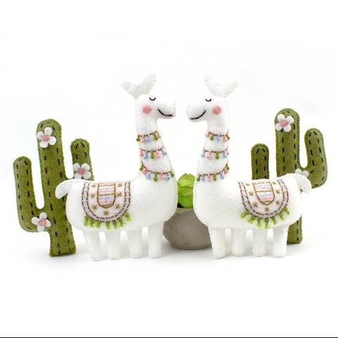 Felt Llama and Cactus Hand Sewing Pattern
