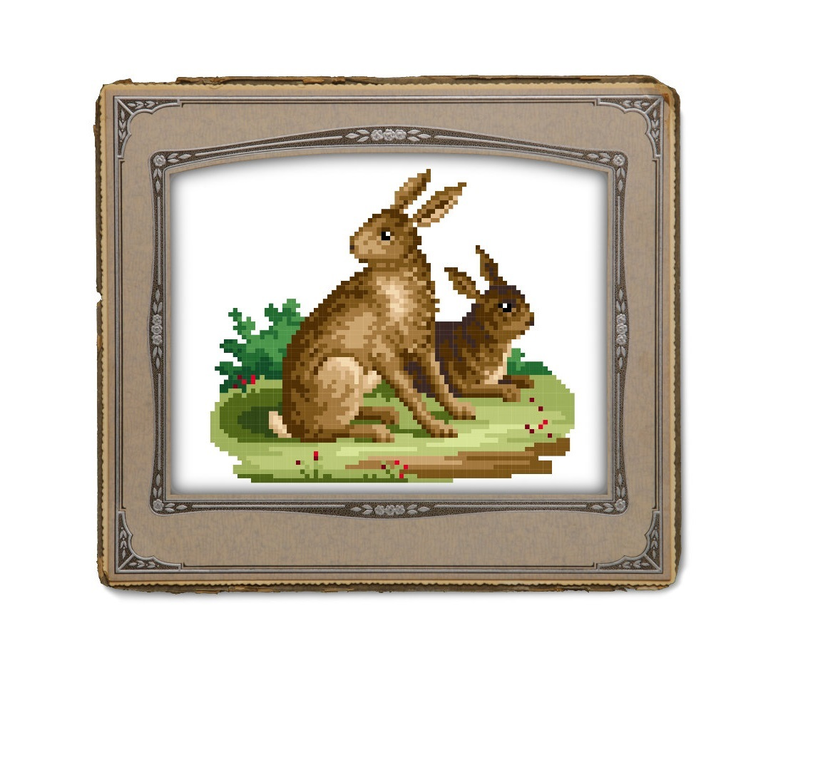 Two brown bunny rabbits - cross stitch pattern.