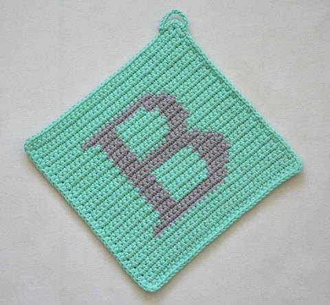 "Letter ""B"" Potholder Crochet Pattern - for beginners"