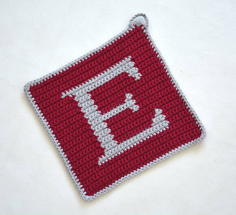"Letter ""E"" Potholder Crochet Pattern - for beginners"