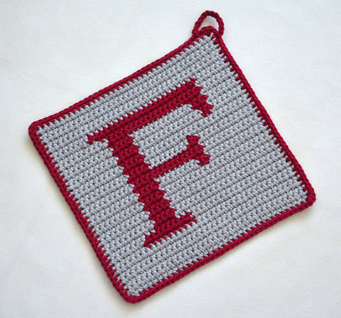 "Letter ""F"" Potholder Crochet Pattern - for beginners"