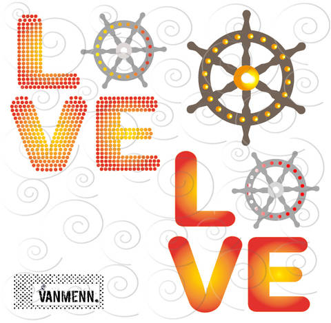 Plotterdatei: Steuerrad LOVE  - für Folien und HotFix Strasssteinen