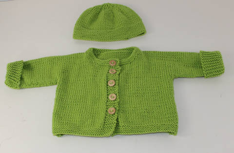 Baby Onepiece Cardigan and Beanie Hat