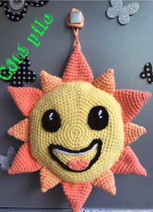 Tuto coussin soleil pile face crochet