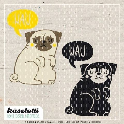 cutting file pug with speech bubble