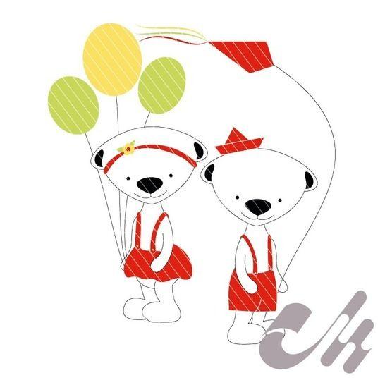 Teddy-Geschwister - Applikationsvorlage bei Makerist - Bild 1