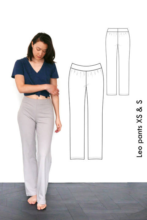 Relaxed jersey pants Leo, yoga pants, pyjama pants - XS-S / US size 4-6 / UK 6-8 - sewing pattern A4 + US letter at Makerist