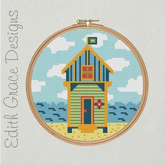 Beach Hut Folk Art Embroidery Pattern at Makerist - Image 1