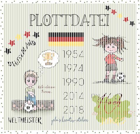 "Plotterdatei  Yela`s Kreativ Atelier "" Weltmeister 2018  "" KOMPLETTPAKET Junge/Maedchen plus Wordarts"