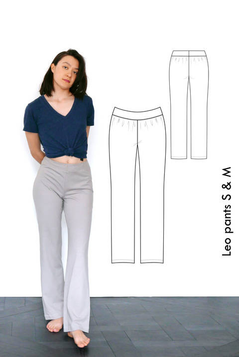 Relaxed jersey pants Leo, yoga pants, pyjama pants - S-M / US size 6-8 / UK 8-10 - sewing pattern A4 + US letter at Makerist