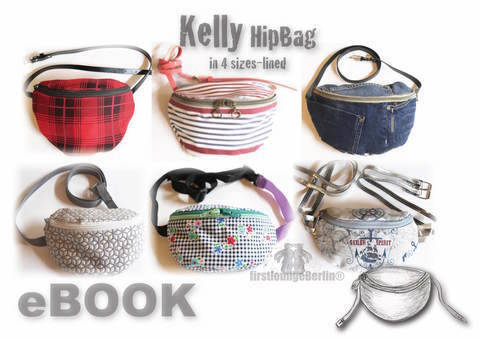US-Kelly E-Book HipBag Hip pocket Pocket Pouches Pdf-file Sewing instruction & Pattern in 4 sizes, made with Love by firstloungeberlin